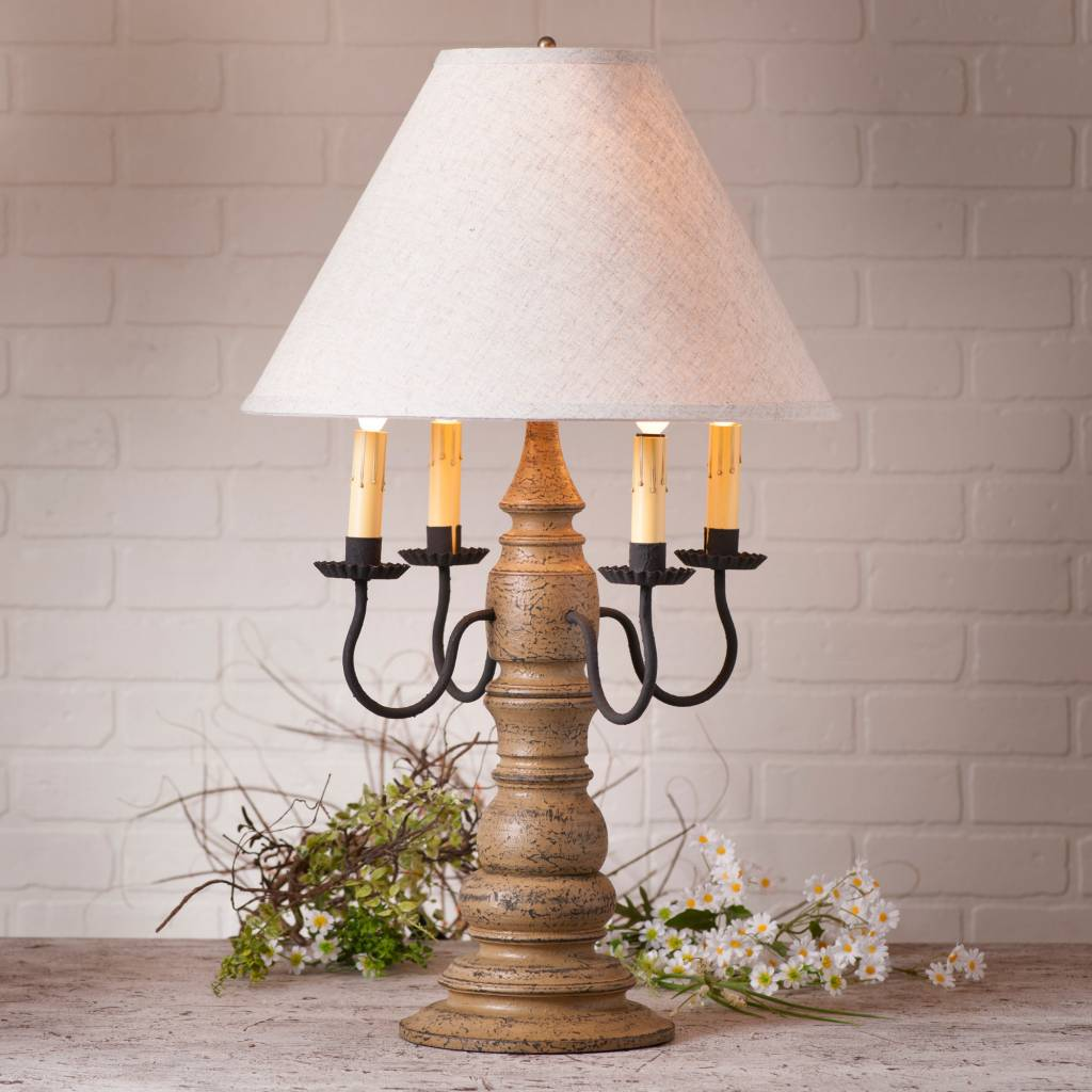 Irvin's Tinware Bradford Lamp with Ivory Linen Shade