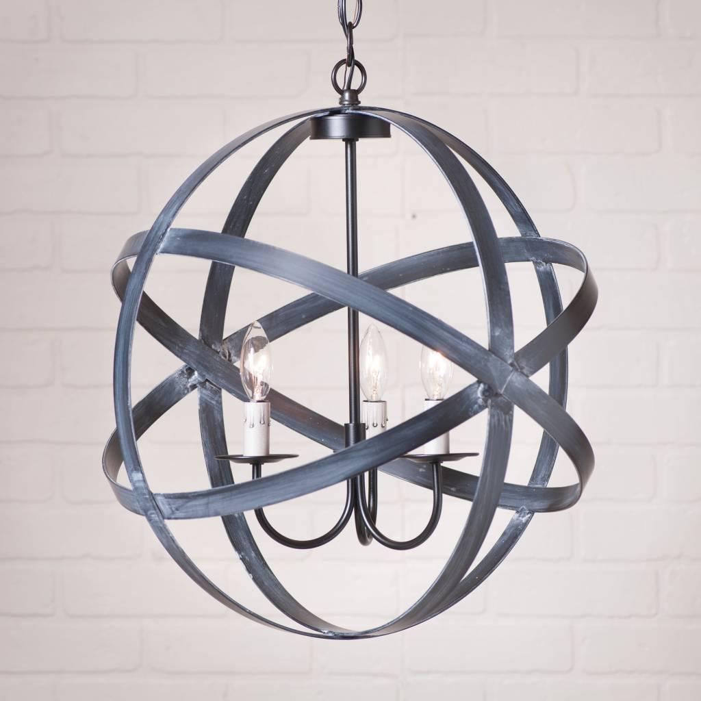 Irvin's Tinware Strap Sphere Chandelier in Black 18 Inch