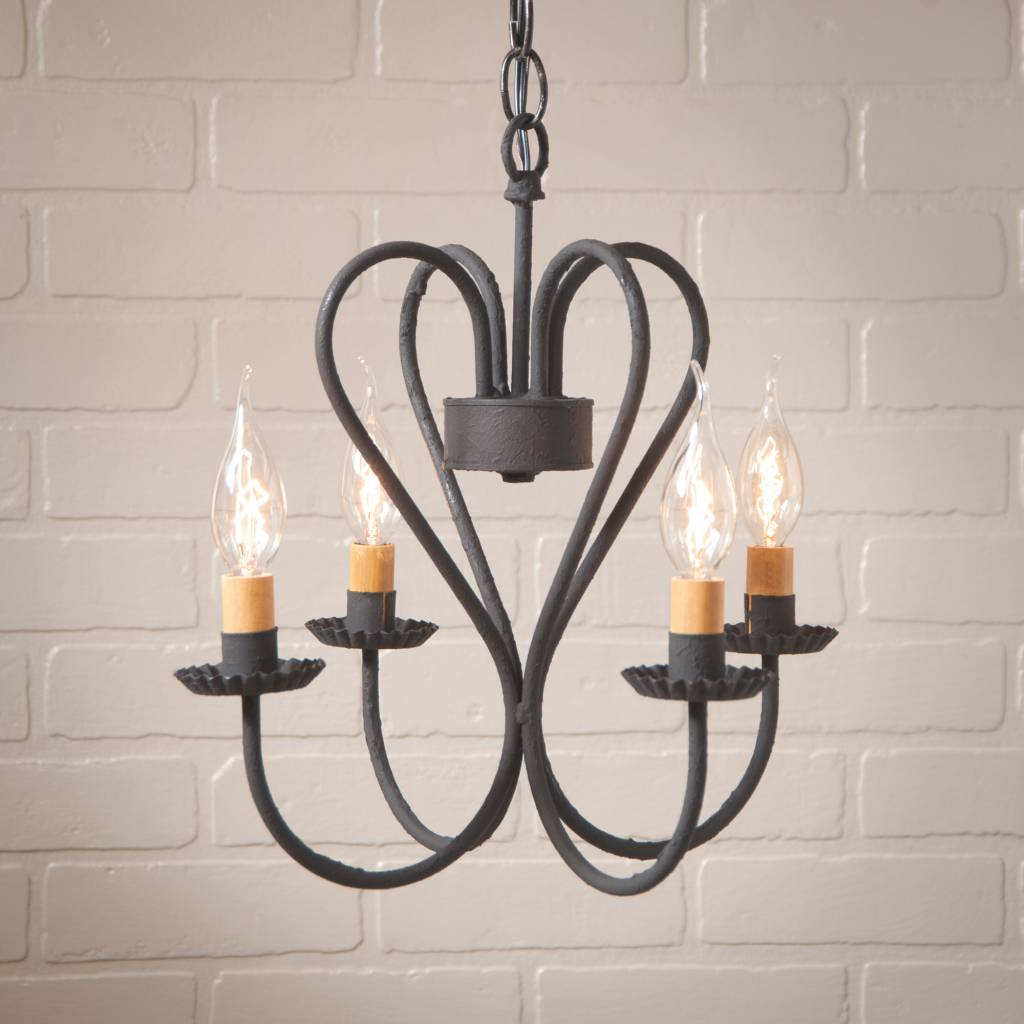 Irvin's Tinware Georgetown Chandelier in Textured Black - Small