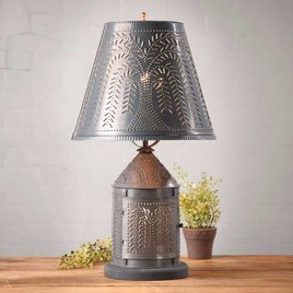 Irvin's Tinware Fireside Lamp with Willow Shade in Kettle Black