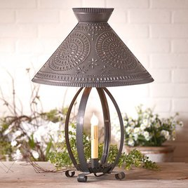 Irvin's Tinware Betsy Ross Lamp with Chisel Shade in Blackened Tin