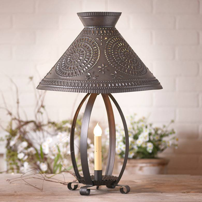 Irvin's Tinware Betsy Ross Lamp with Chisel Shade in Kettle Black