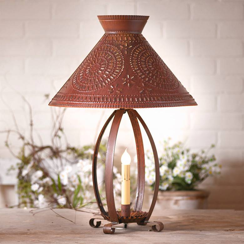 Irvin's Tinware Betsy Ross Lamp with Chisel Shade in Rustic Tin