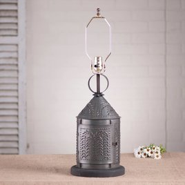 Irvin's Tinware Fireside Lamp Base with Willow in Kettle Black