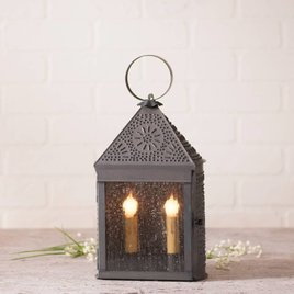 Irvin's Tinware Harbor Lantern with Chisel in Blackened Tin