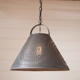 Irvin's Tinware Homestead Shade Light with Chisel in Kettle Black