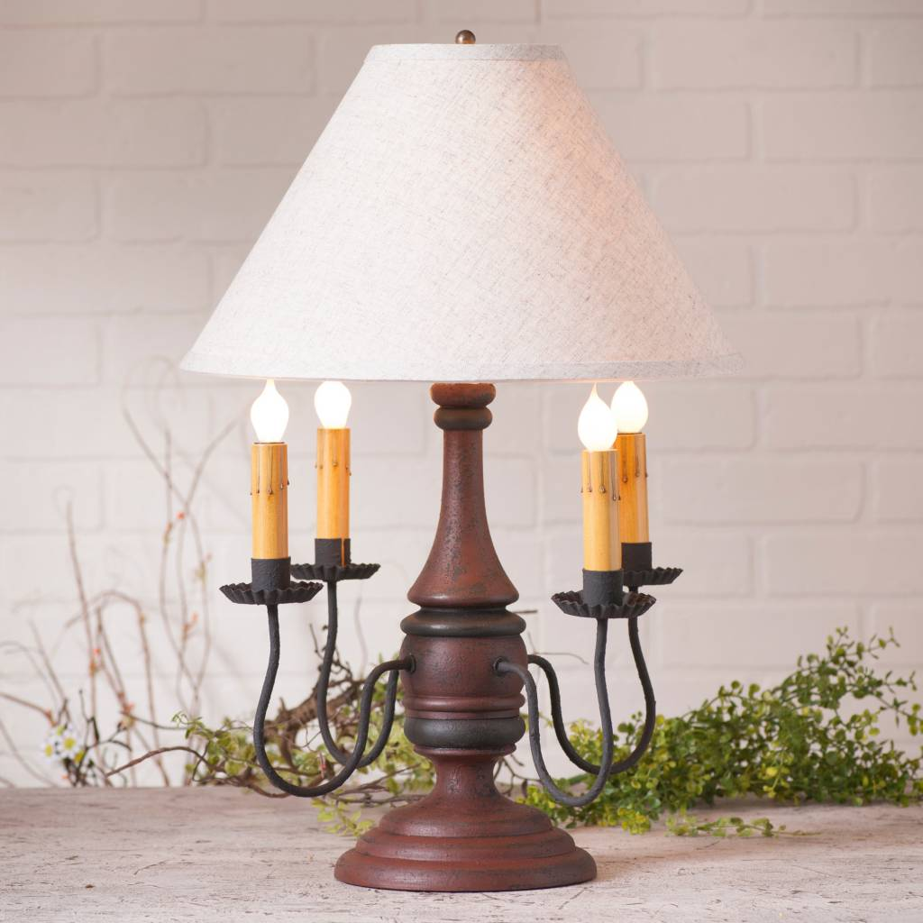 Irvin's Tinware Jamestown Lamp with Ivory Linen Shade
