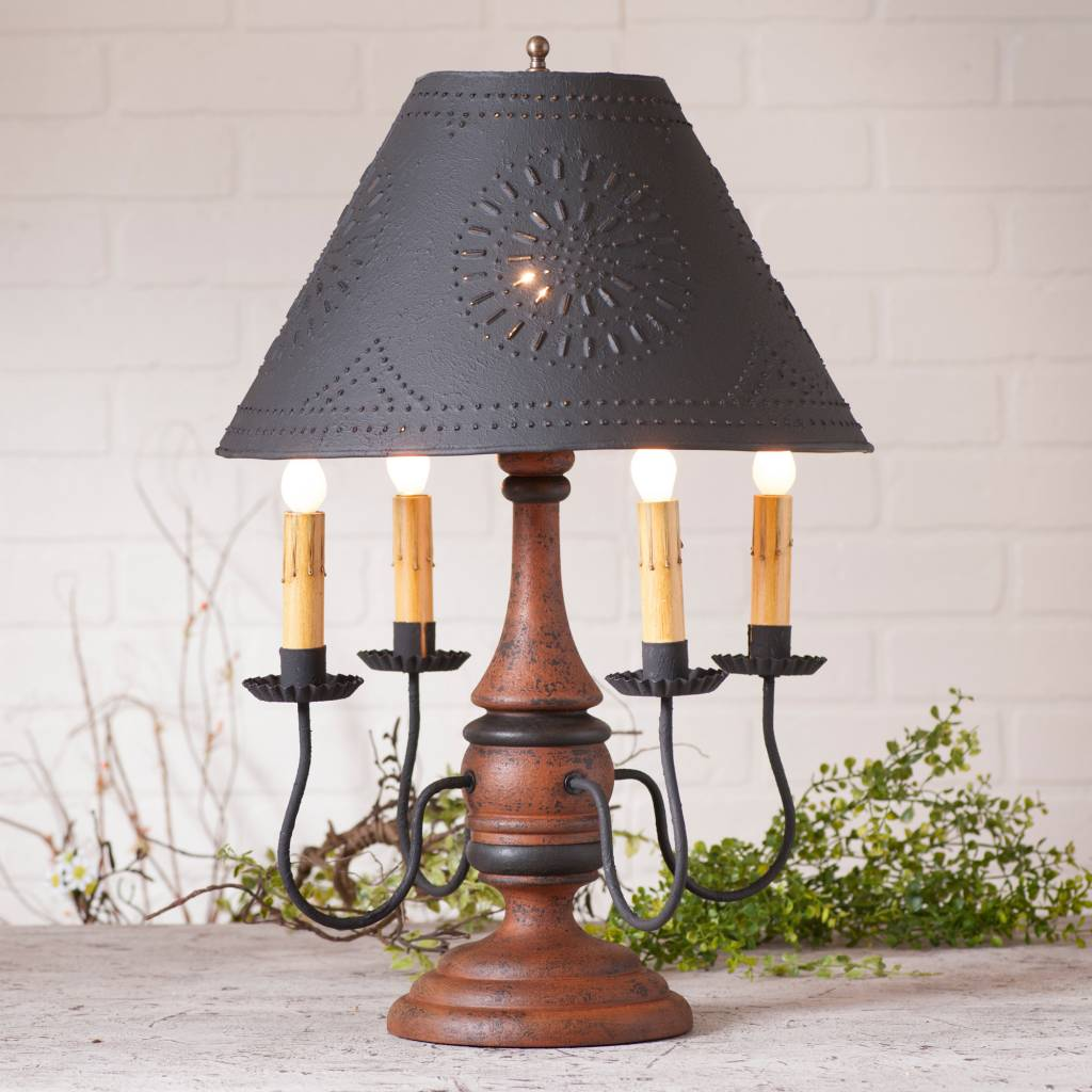 Irvin's Tinware Jamestown Lamp with Textured Black Shade