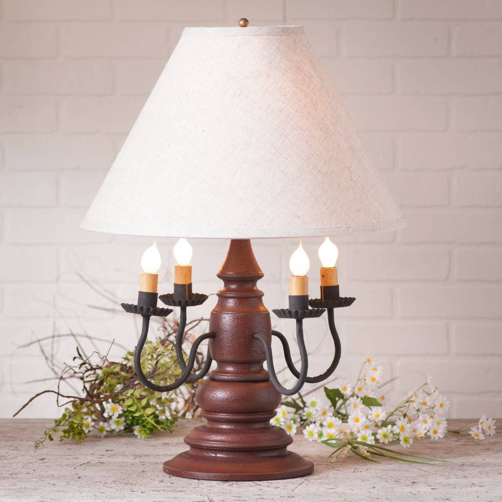 Irvin's Tinware Harrison Lamp with Ivory Linen Shade