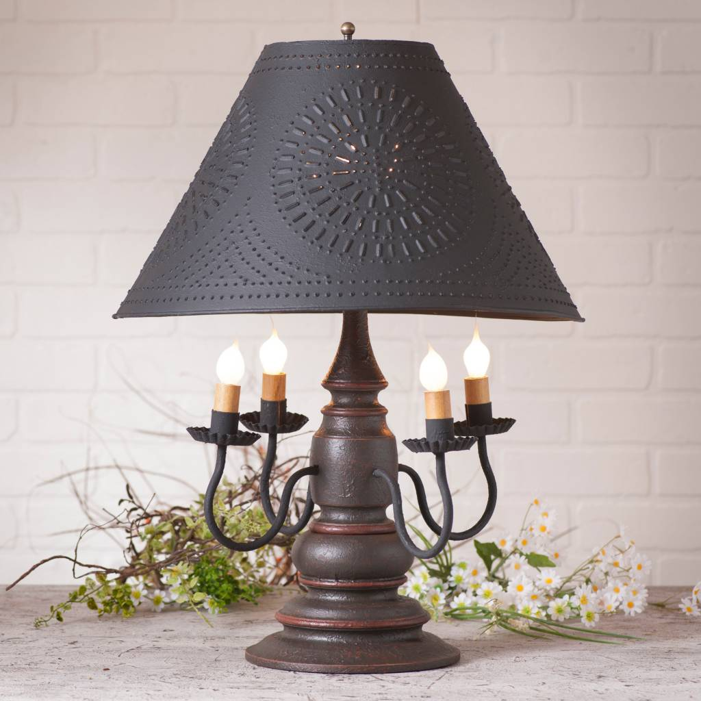 Irvin's Tinware Harrison Lamp with Textured Black Shade