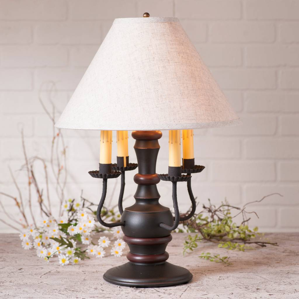 Irvin's Tinware Cedar Creek Lamp with Ivory Linen Shade