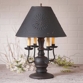 Irvin's Tinware Cedar Creek Lamp with Textured Black Shade