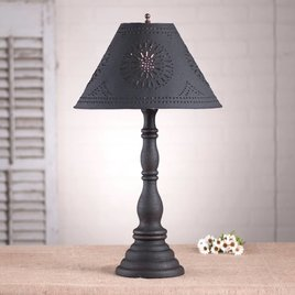 Irvin's Tinware Davenport Lamp with Textured Black Shade in Hartford