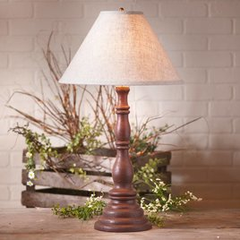 Irvin's Tinware Davenport Lamp with Ivory Linen Shade in Americana