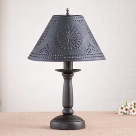 Irvin's Tinware Butcher Lamp with Textured Black Shade