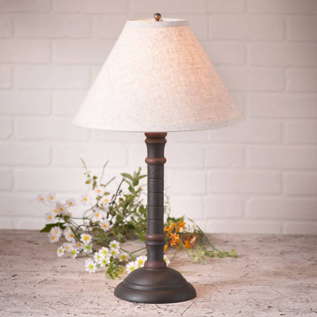 Irvin's Tinware Gatlin Lamp with Ivory Linen Shade