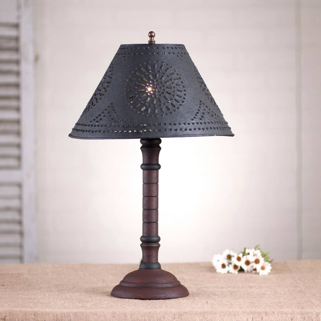 Irvin's Tinware Gatlin Lamp with Textured Black Shade