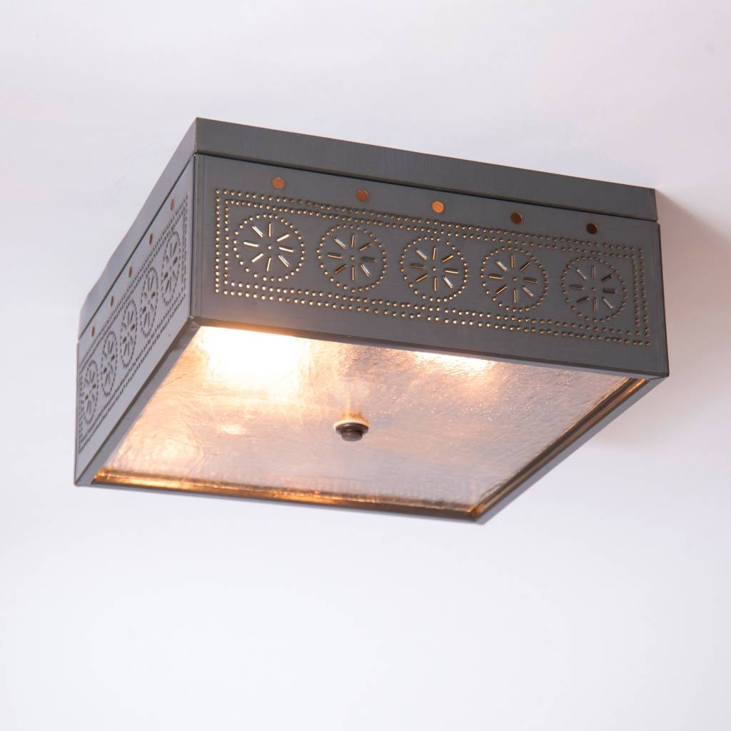 Irvin's Tinware Square Ceiling Light with Chisel