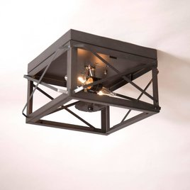 Irvin's Tinware Double Ceiling Light with Folded Bars