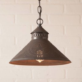 Irvin's Tinware Stockbridge Shade Light with Star Kettle Black