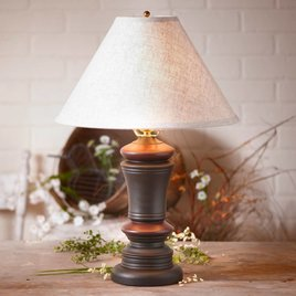 Irvin's Tinware Peppermill Lamp Base in Sturbridge Black with Red Stripe