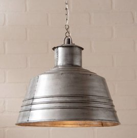 Irvin's Tinware Canning Table Pendant in Brushed Tin