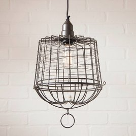 Irvin's Tinware Egg Basket Cage Pendant in Smokey Black