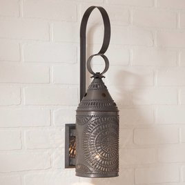 Irvin's Tinware Wall Lantern in Blackened Tin