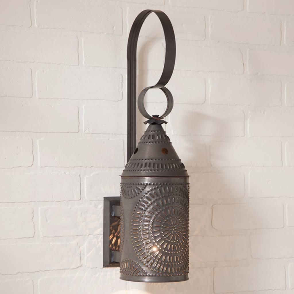 Irvin's Tinware Wall Lantern in Blackened Tin