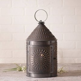 Irvin's Tinware Fireside Lantern in Blackened Tin