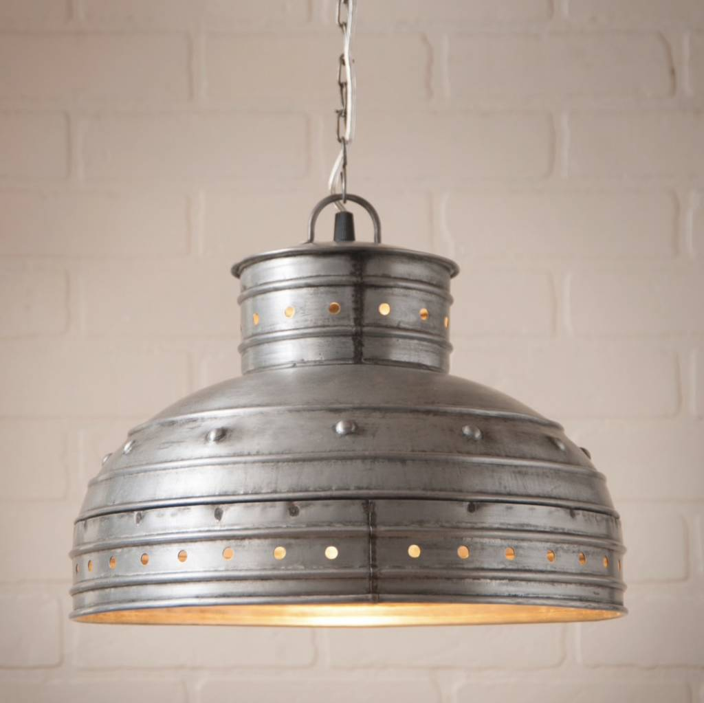 Irvin's Tinware Breakfast Table Pendant in Brushed Tin
