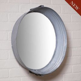Irvin's Tinware Washtub Mirror in Weathered Zinc