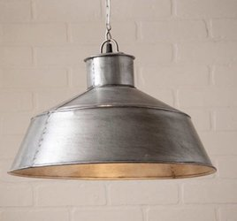 Irvin's Tinware Springhouse Pendant in Brushed Tin