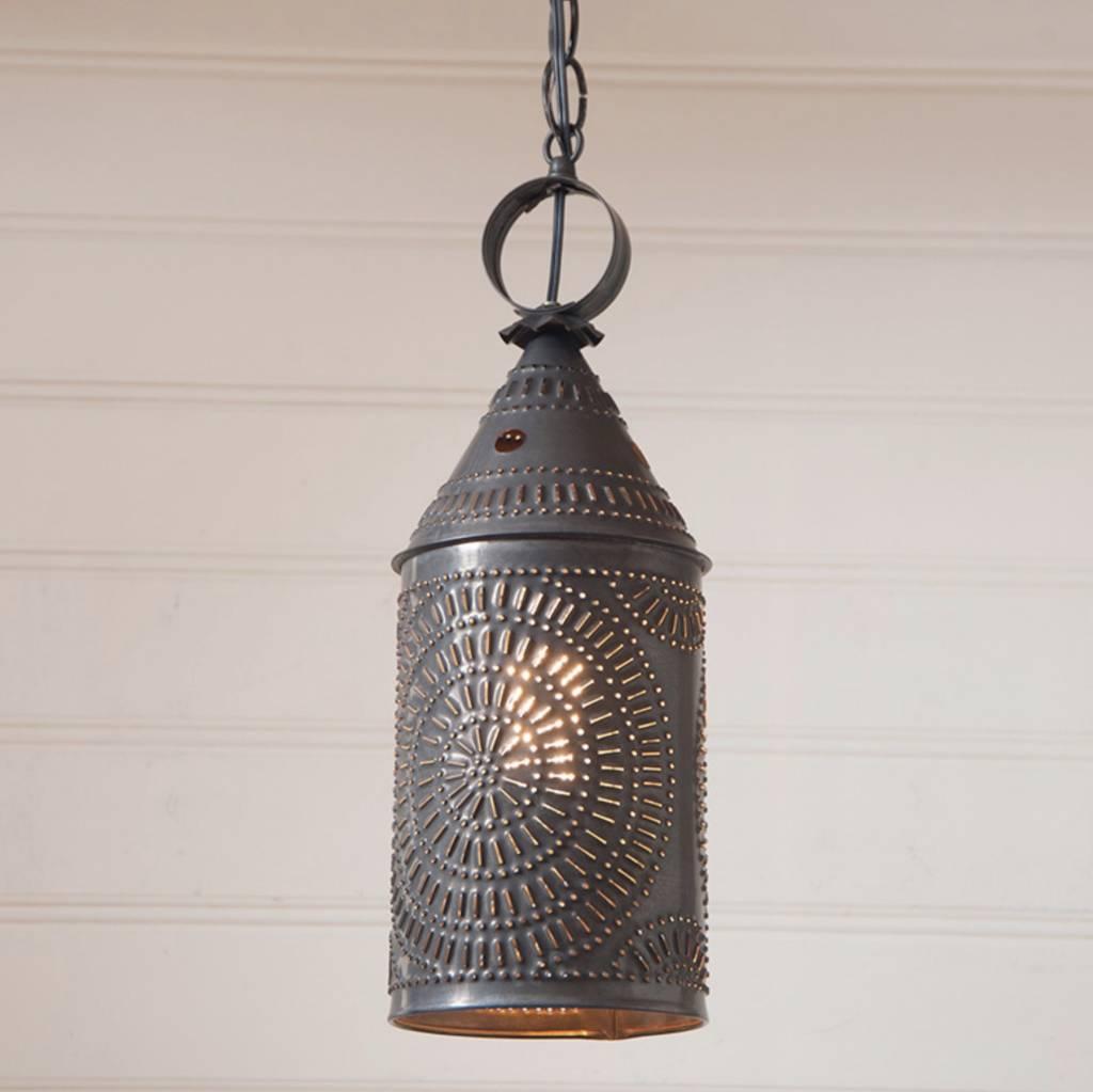 Irvin's Tinware Hanging Lantern in Blackened Tin