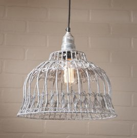 Irvin's Tinware Flower Industrial Cage Pendant in Weathered Zinc