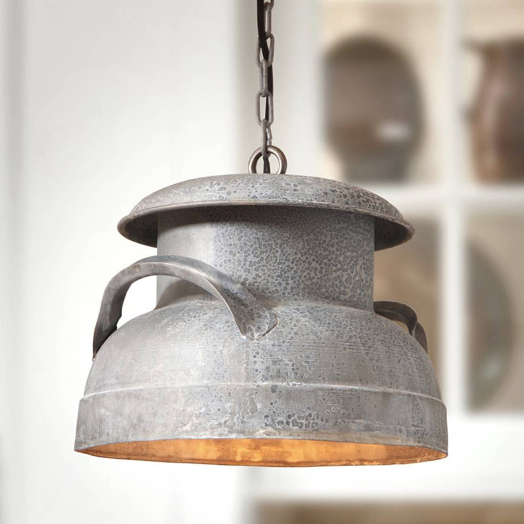 Irvin's Tinware Milk Can Pendant in Weathered Zinc