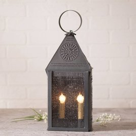 Irvin's Tinware Hospitality Lantern with Chisel in Blackened Tin