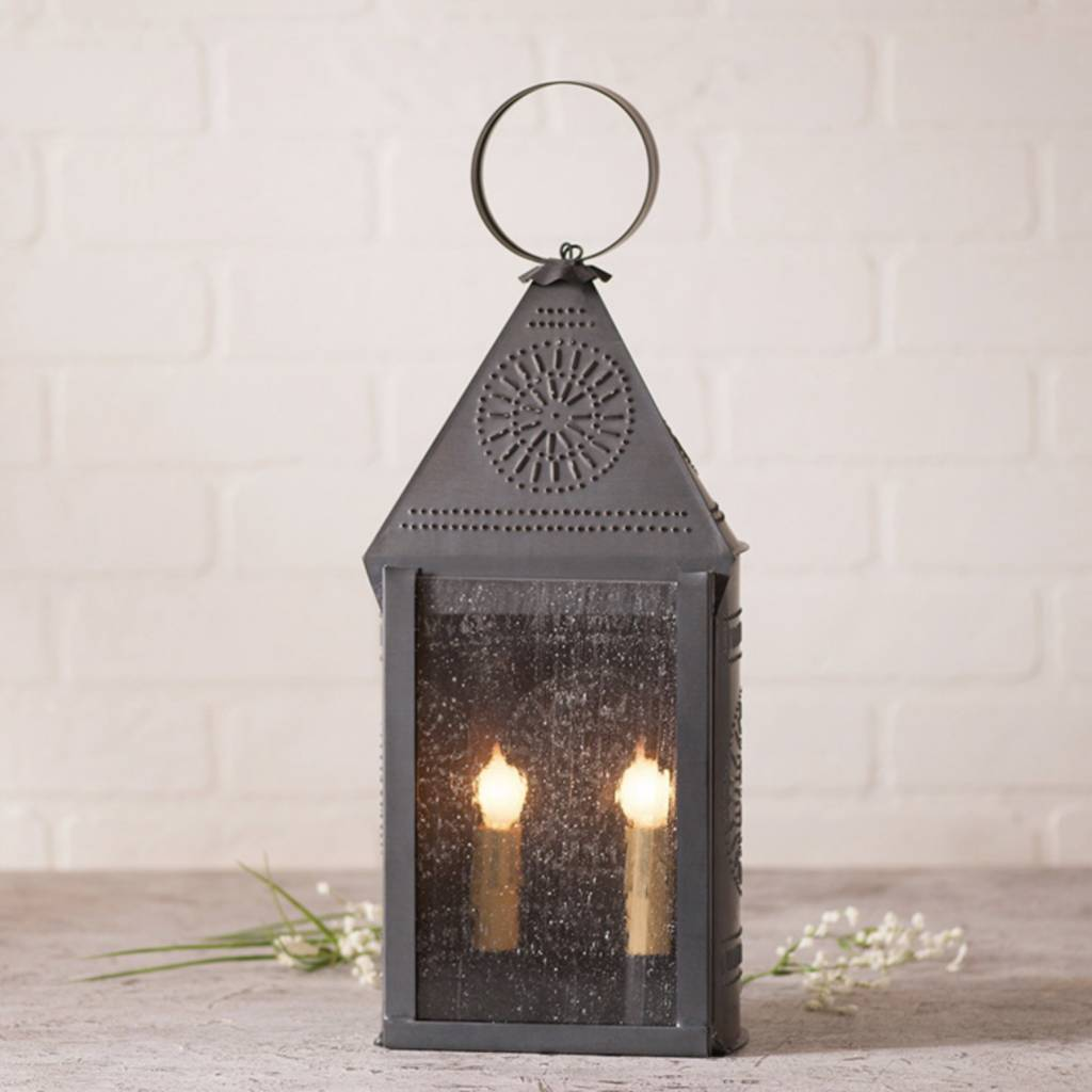 Irvin's Tinware Hospitality Lantern with Chisel in Kettle Black