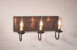 Irvin's Tinware Three Arm Vanity Light with Stars in Blackened Tin
