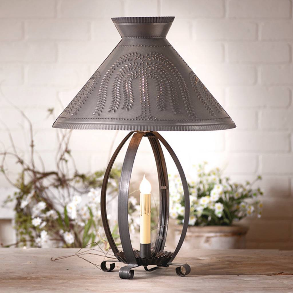 Irvin's Tinware Betsy Ross Lamp with Willow Shade in Blackened Tin