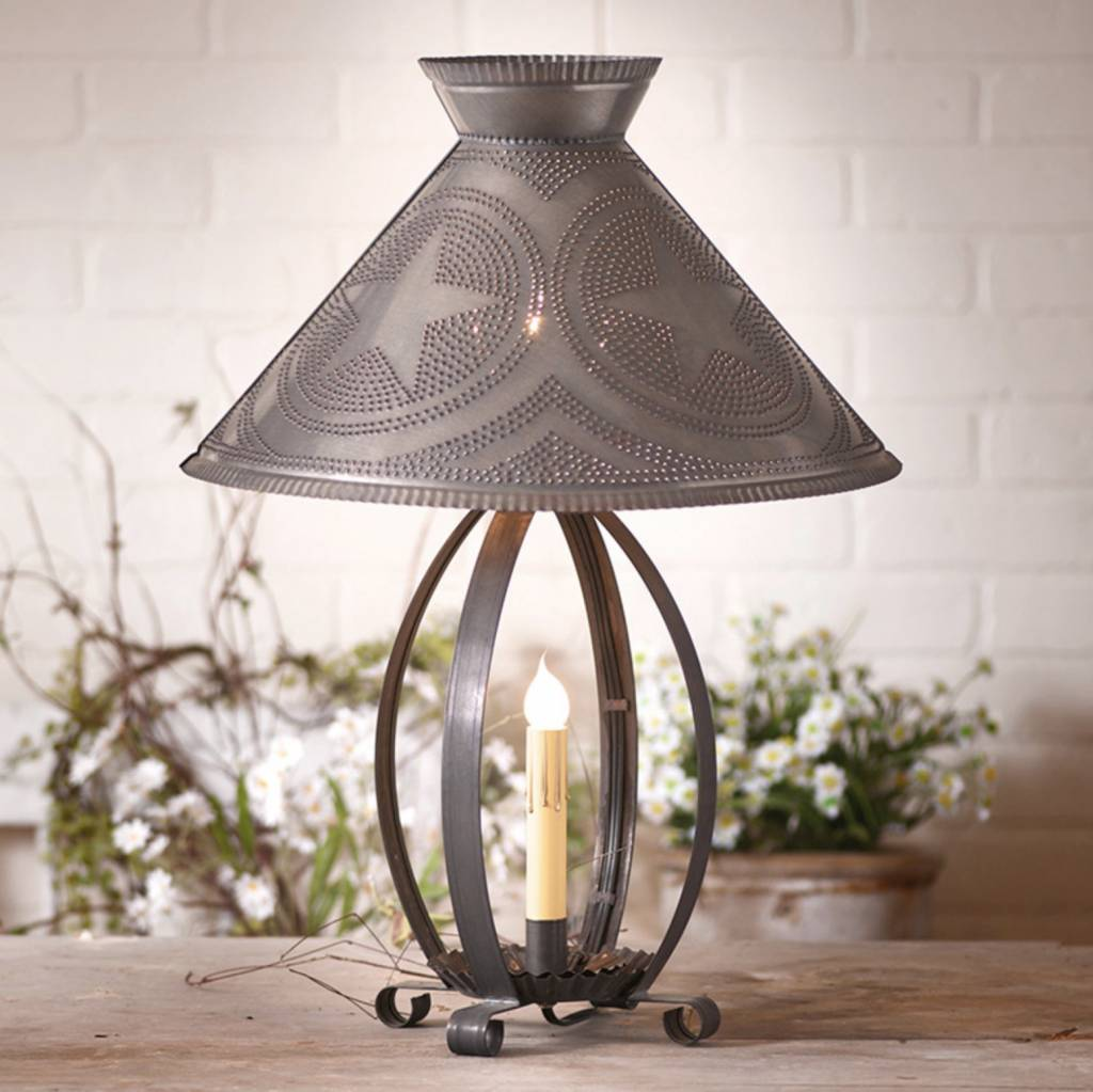 Irvin's Tinware Betsy Ross Lamp with Star Shade in Blackened Tin