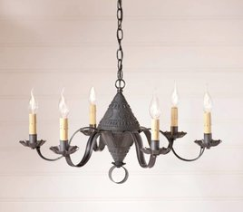Irvin's Tinware Concord Chandelier in Blackened Tin