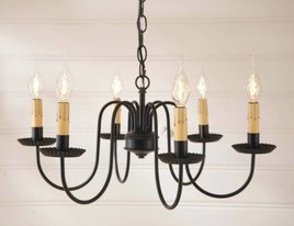 Irvin's Tinware Sheraton 6-Arm Chandelier in Black