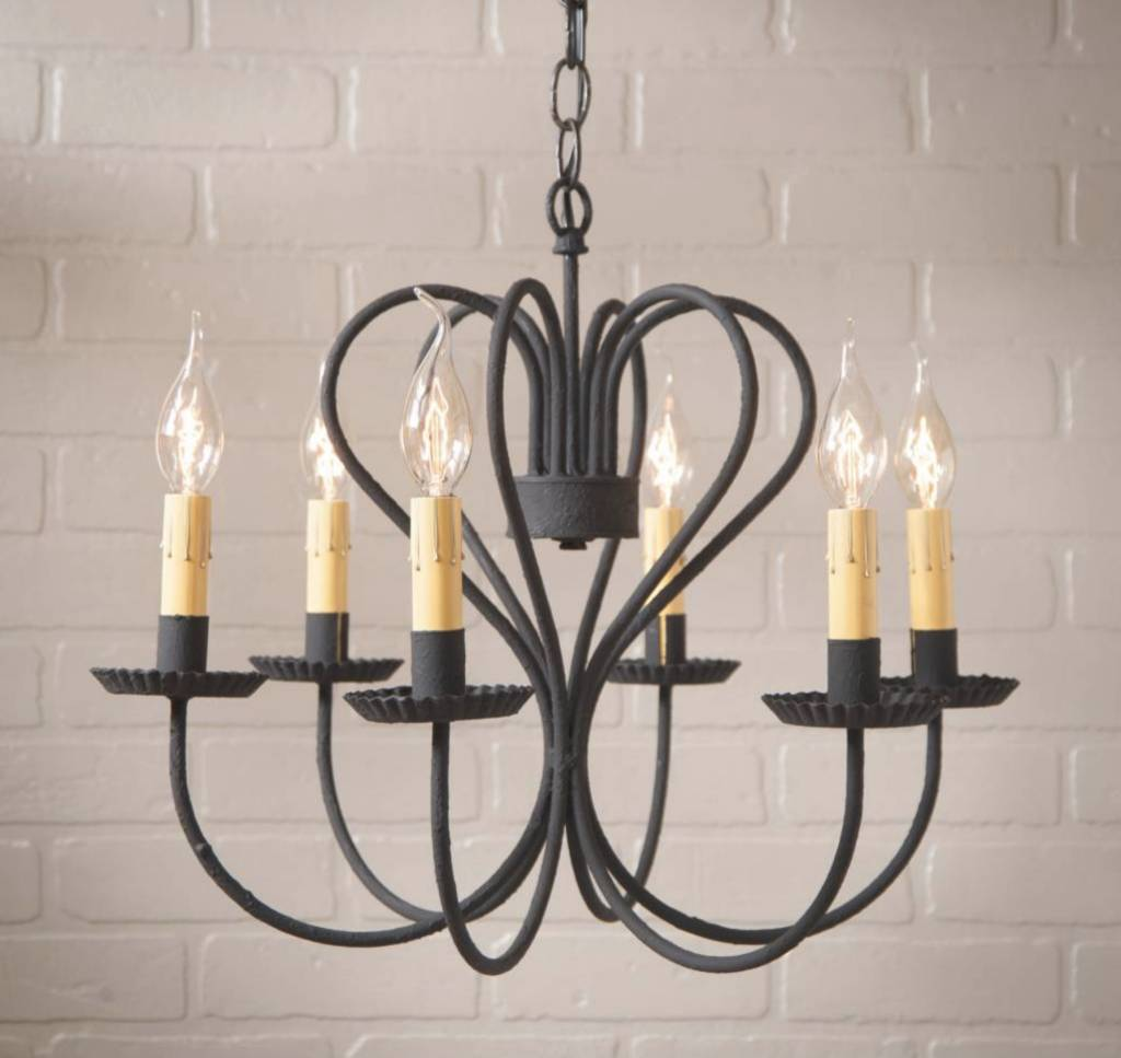Irvin's Tinware Georgetown Chandelier in Textured Black - Large