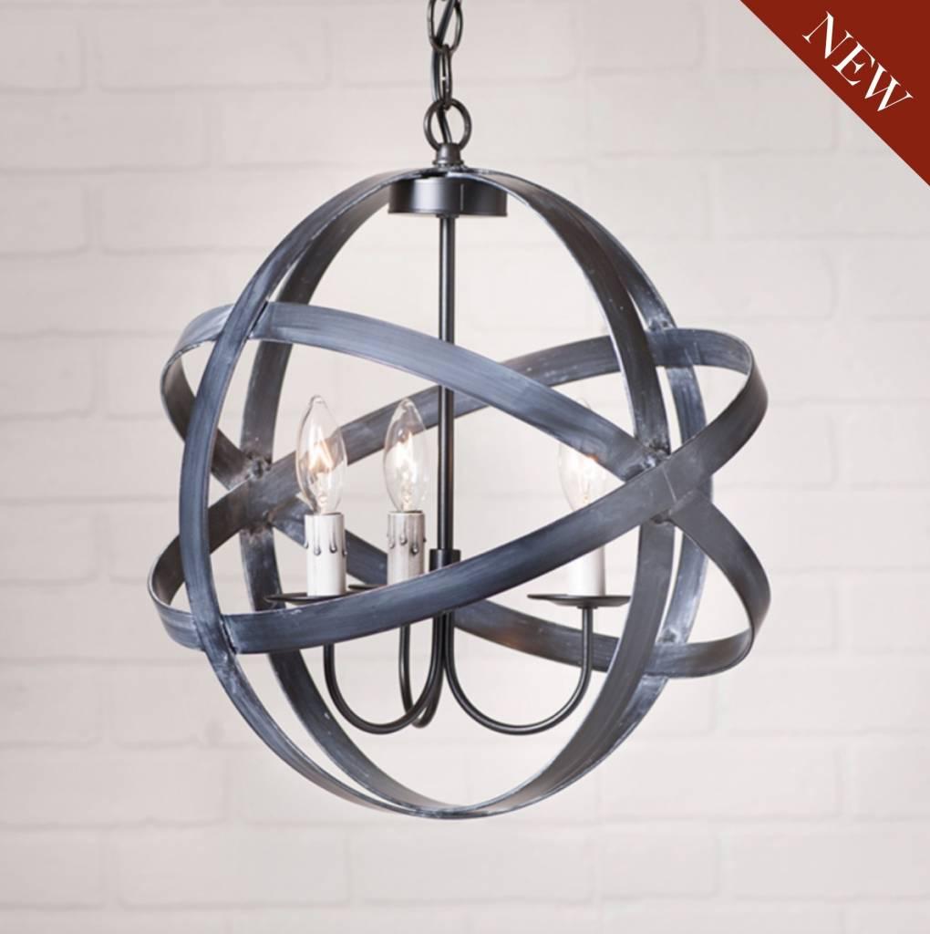 Irvin's Tinware Strap Sphere Chandelier in Black 15 Inch