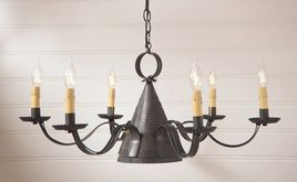 Irvin's Tinware Madison Chandelier in Blackened Tin