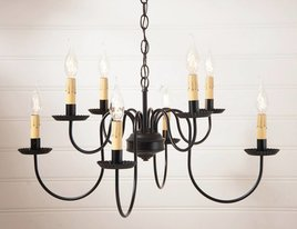 Irvin's Tinware Bloomfield Chandelier - Eight Arm Two Tier in Black