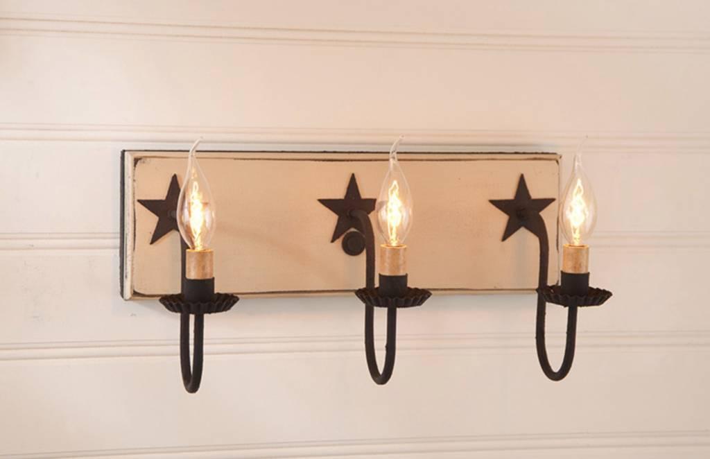 Irvin's Tinware Three Light Vanity Light with Stars