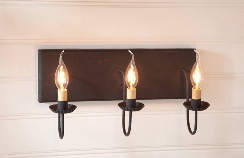 Irvin's Tinware Three Light Vanity Light in Hartford