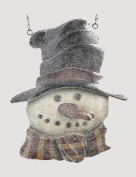 K & K Interiors Resin Glitter Snowman in Top Hat Arrow Replacement